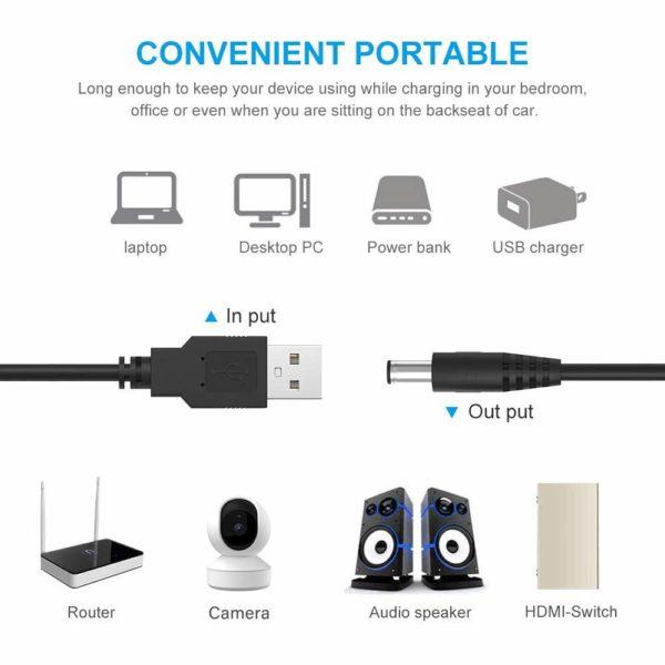 USB to DC 5V (5.5mm) Power Plug Charger Cord
